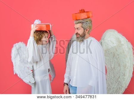 Little Boy And Father With Gift On Head. Valentines Day. Father's Day. Gift Box. Happy Father In Ang