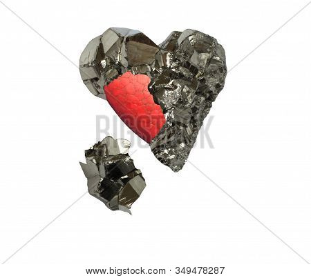 Mineral Pyrite In The Shape Of A Heart And Red Painted Heart Inside It On A White Background