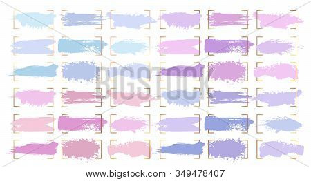 Paint Brush Strokes, Abstract Pastel Color Smudge Blobs And Watercolor Splashes, Vector Backgrounds.
