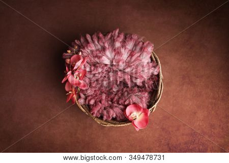 Newborn Digital Background.  Basket With Pink Furrow And Orchid Flowers.
