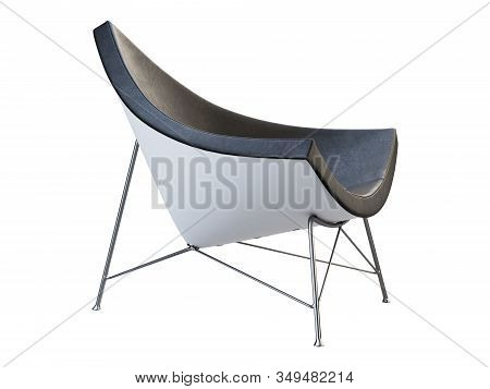Mid-century Black Leather Chair With White Plastic Base. 3D Render.