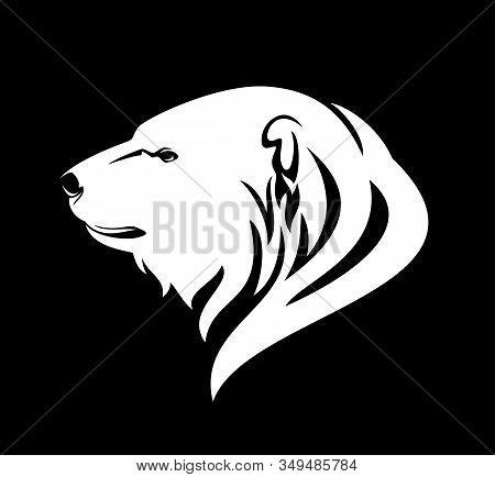 Polar Bear (ursus Maritimus) Profile Head - Wild Animal Side View White Vector Portrait On Black