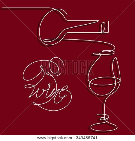 Single Outline Drawing With A Bottle, And Wine Glass. A Continuous Line On A Dark Background. Modern