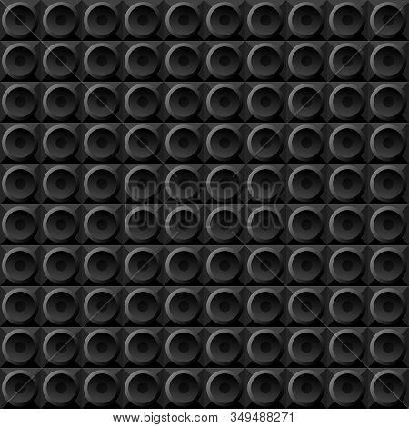 Vector Geometric Seamless Pattern Black Circles On Black Squares, Stylized Disco Speakers Subwoofers