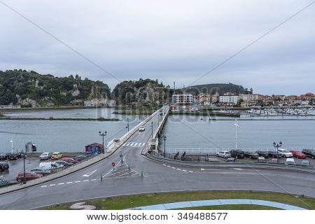Ribadesella, Principado De Asturias, Spain - January 14, 2020:  View Of The Bridge That Crosses The