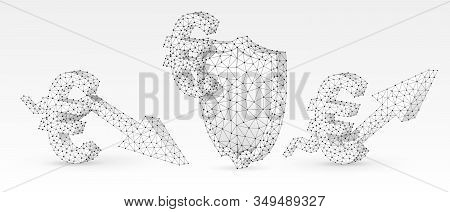 Security Shield With Euro, Growth And Downtrend Arrow Symbols Set. Abstract Polygonal Money Protecti