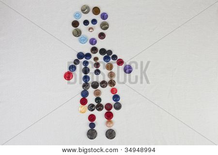 Boy Shape Made Of Colorful Retro Buttons