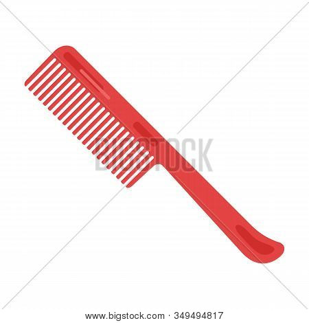 Red Plastic Tooth Comb For Men Or Women. Hair Care Item. Personal Hygiene And Beauty Product. Bathro