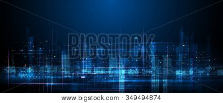 Vector Illustration Urban Architecture, Cityscape With Space And Neon Light Effect. Modern Hi-tech,