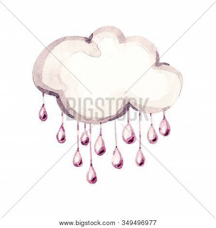 Cute White Watercolor Cloud With Rain. Watercolour Cloud Objects Isolated On White Background For Yo