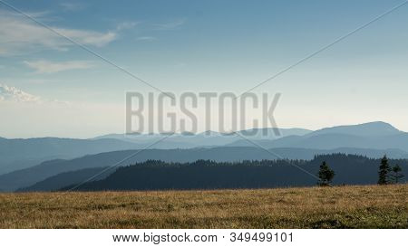 View From A Meadow On The Feldberg Over Hazy Hills.