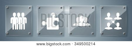 Set Project Team Base, Users Group, Piece Of Puzzle And Users Group. Square Glass Panels. Vector