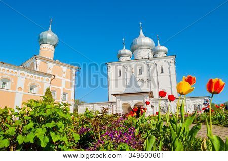 Veliky Novgorod, Russia. Savior Transfiguration Cathedral And Varlaam Refectory Church In Varlaam Kh