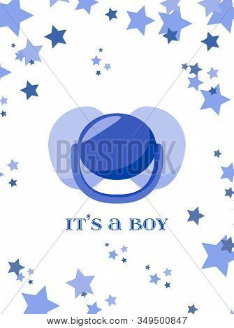 Blue Greeting Card For Baby Shower Invitation. It's A Boy, Vector Illustration