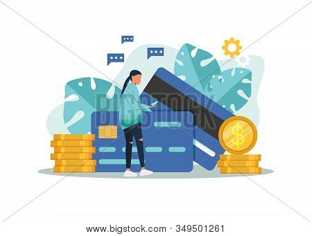 Banking, business concept illustration of woman with credit cards and using mobile smart phone for online banking and accounting. Flat business women with credit cards. Vector business illustration. Business concept, business background.