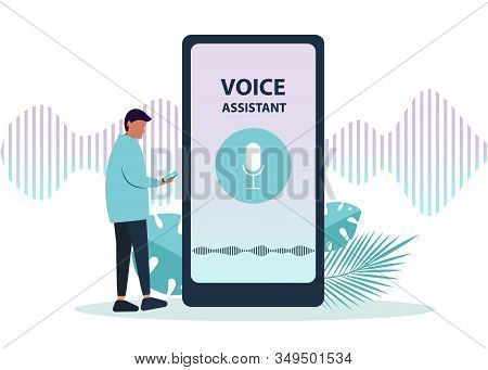 Ai. Male character using voice control for his phone. Isolated ai vector illustration of ai voice remote with character and phone. Ai vector background