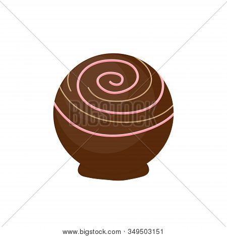 Cute Chocolate Bonbon Round Vector Illustration. Sweet Sugar Candy With Topping From Box Of Chocolat