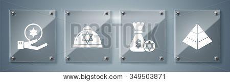 Set Egypt Pyramids, Jewish Money Bag With Star Of David And Coin, Jewish Kippah With Star Of David A
