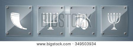 Set Hanukkah Menorah, Olives Branch, Hanukkah Menorah And Traditional Ram Horn, Shofar. Square Glass