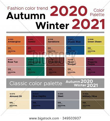 Fashion Color Trend Autumn Winter 2020-2021. Palette Fashion Colors Guide With Named Color Swatches,