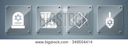 Set Hanukkah Dreidel, Star Of David, Jewish Goblet And Hanukkah Sufganiyot And Tombstone With Star O