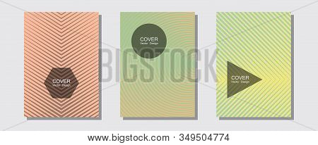 Halftone Gradient Texture Vector Cover Layouts. Corporate Catalogs. Halftone Lines Music Poster Back