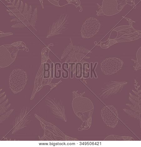 Vector Brown Quail Birds Pinecones Ferns Line Art On Purple Background Seamless Repeat Pattern. Back