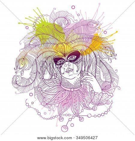 Vector Woman Face In Mask, Peacock Feathers, Ornate Collar And Mardi Gras Beads In Pastel Violet, Gr