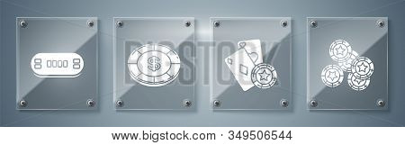 Set Casino Chips, Casino Chip And Playing Cards, Casino Chip With Dollar Symbol And Poker Table. Squ