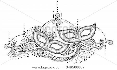 Vector Drawing With Dotted Mardi Gras Carnival Mask And Outline Decorative Lace In Black Isolated On