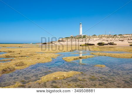 Low Tide In Trafalgar Cape With Rocky Seaside And Lighthouse Reflected