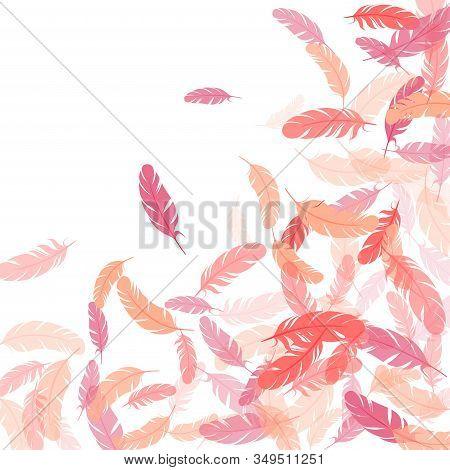 Fashoinable Pink Flamingo Feathers Vector Background. Plumage Bohemian Fashion Shower Decor. Easy Pl