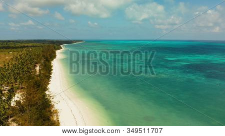 Tropical Island With Sandy Beach By Atoll With Coral Reef And Blue Sea, Aerial View. Bugsuk Island W