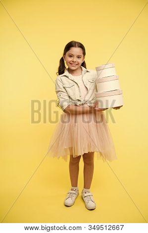 Girl Carries Pile Boxes. Prepare Shopping Sale Season. Prepare For School Season Buy Supplies Statio