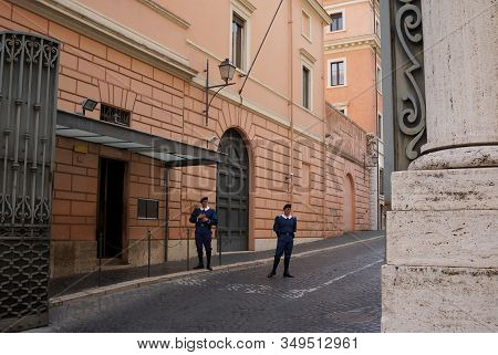 Rome, Italy - October 14, 2019: Guardians Of Pontifical Swiss Guard  Stands In Traditional Everyday