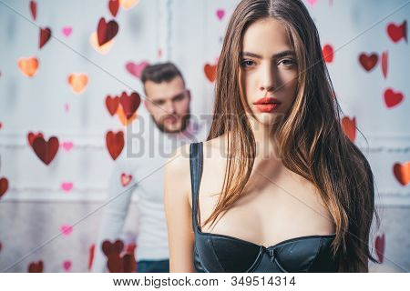 Happy To Be In Love. Valentines Day. Young Heterosexual Couple Embracing. Fashion Portrait Of A Beau