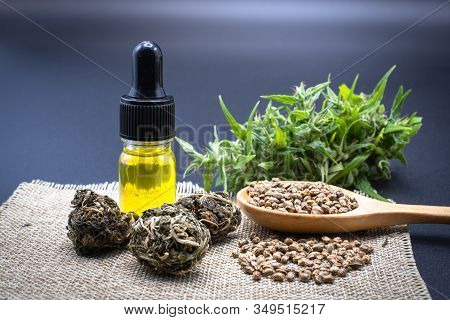 Hemp Oil In A Glass Bottle. Hemp Seeds In A Wooden Spoon And Hemp Leaves Are Placed On The Table. Th