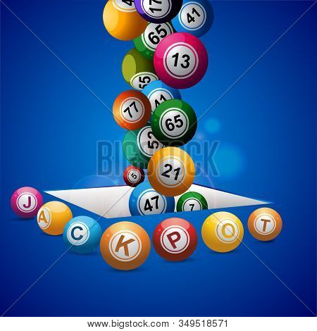 3d Illustration Of Bingo Lottery Balls Falling Into A Hole Surrounded By Jackpot Balls Over Blue Glo