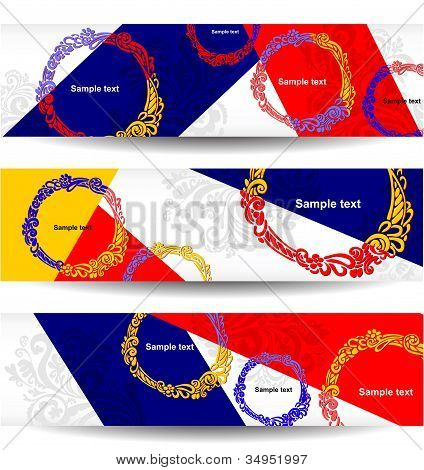 Abstract, creative website banners, set of vector design