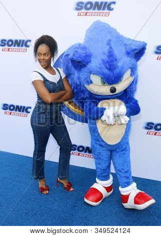 Tika Sumpter and Sonic the Hedgehog at the Los Angeles premiere of 'Sonic the Hedgehog' held at Paramount Theatre in Los Angeles, USA on January 25, 2020.