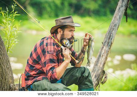 Nice Day For Fishing. Happy Fisherman. Fisher Fishing Equipment. Young Man Fishing. Legend Has Retir