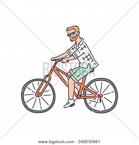 Bicyclist Or Bikeman Male Character Riding Sketch Vector Illustration Isolated.