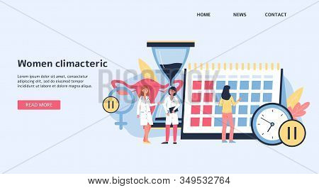 Landing Page Or Banner On Women Climacteric Topic, Flat Vector Illustration.