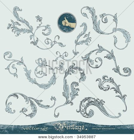 Ornate swirls, vector ornaments set for decoration and design
