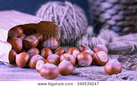 Hazelnuts, Filbert In Burlap Sack On Wooden Backdrop. Heap Or Stack Of Hazelnuts. Hazelnut Backgroun