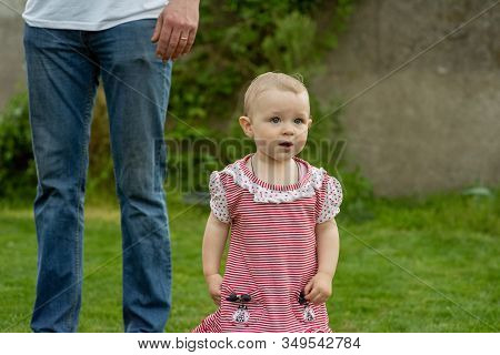 Little Child 1 Year Old Baby Girl Goes. The Father Walks With The Child Through The Green Grass. Bab