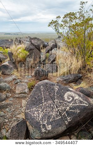 Native American Bighorn Petroglyph In Petroglyph National Monument, New Mexico, Usa