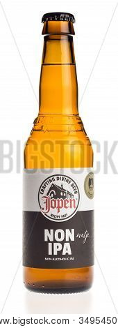 Groningen, Netherlands - February 06, 2020: Bottle Of Non Alcoholic Jopen Non Ipa Beer Isolated On A