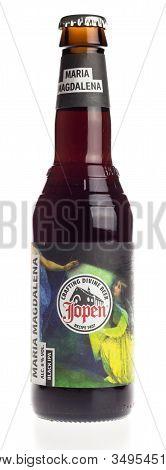 Groningen, Netherlands - February 06, 2020: Bottle Of Jopen Maria Magdalena Black Ipa Beer Isolated
