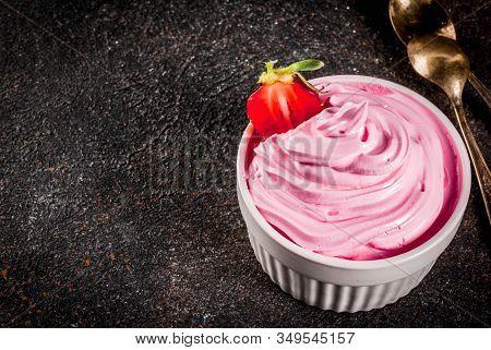 Frozen Pink Berry Frozen Yogurt Or Soft Ice Cream In White Bowl Copy Space
